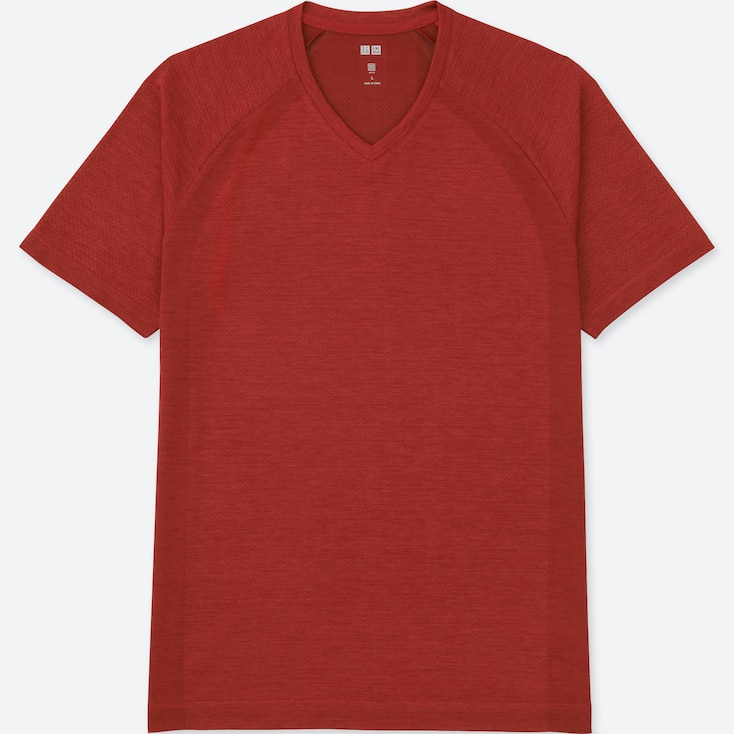 MEN DRY EX SHORT SLEEVE V-NECK T-SHIRT, RED, large