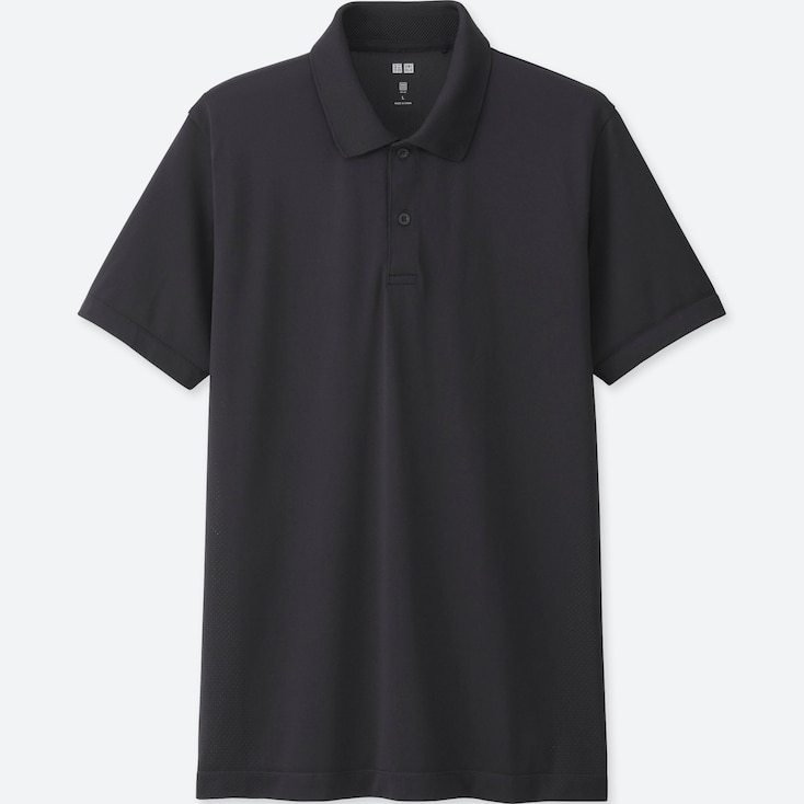 MEN DRY EX SHORT SLEEVE POLO SHIRT, BLACK, large