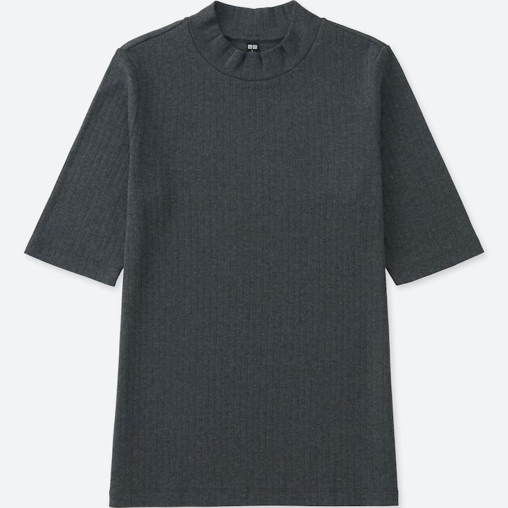 Women Ribbed High Neck Half Sleeve T-Shirt, Dark Gray, Large