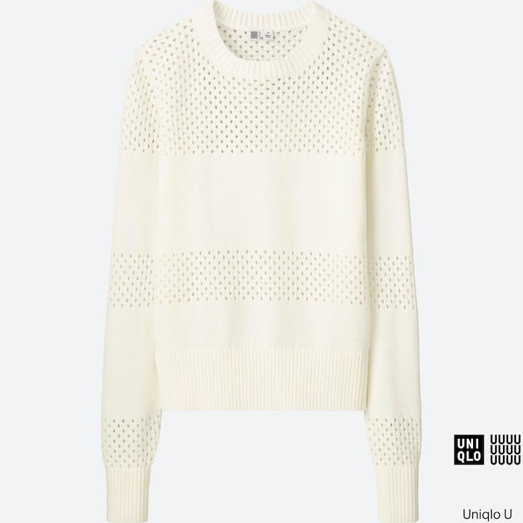 Women U Cotton Mesh Crewneck Sweater, White, Large