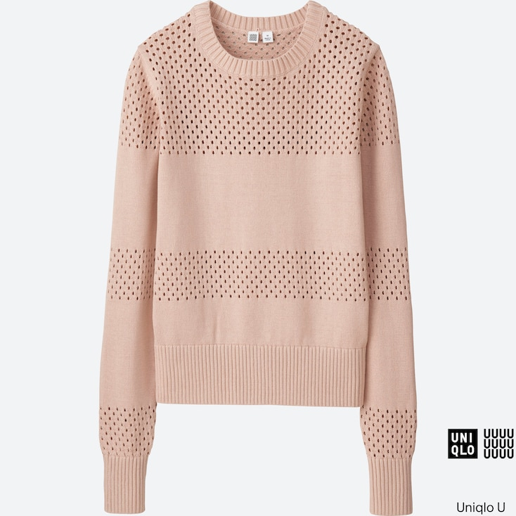 Women U Cotton Mesh Crewneck Sweater, Pink, Large