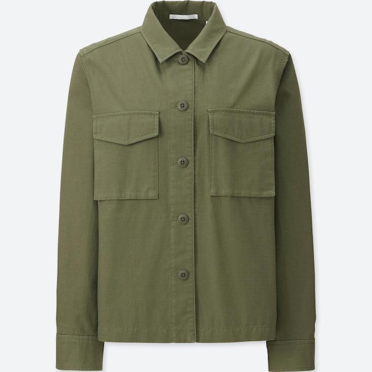 Women Military Shirt Jacket, Olive, Large