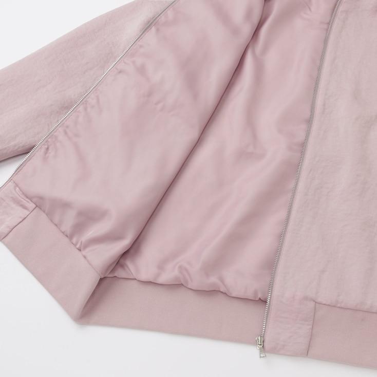 Women Soft Bomber Jacket, Pink, Large