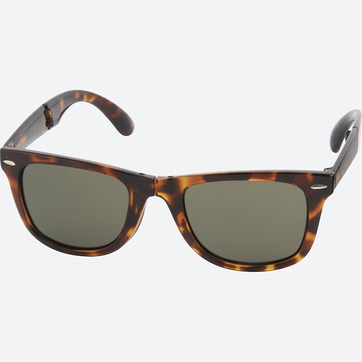 Wellington Folding Sunglasses, Dark Brown, Large