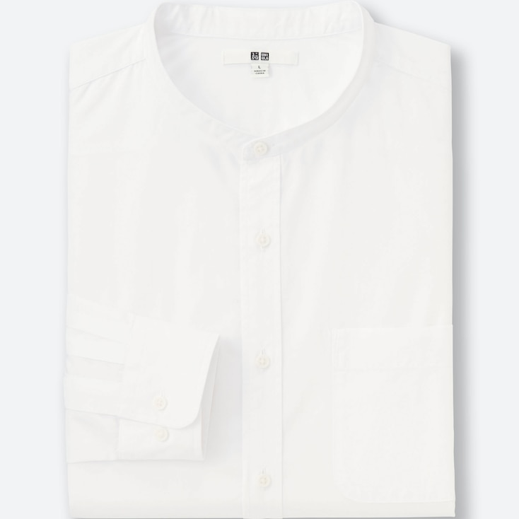 Men Extra Fine Cotton Broadcloth Stand Collar Long Sleeve Shirt, White, Large