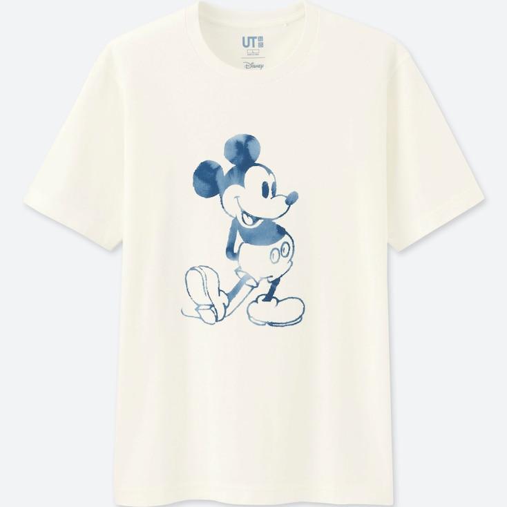 Men Mickey Blue Short Sleeve Graphic T-Shirt, White, Large