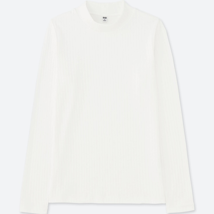 WOMEN RIBBED HIGH NECK LONG-SLEEVE T-SHIRT, OFF WHITE, large