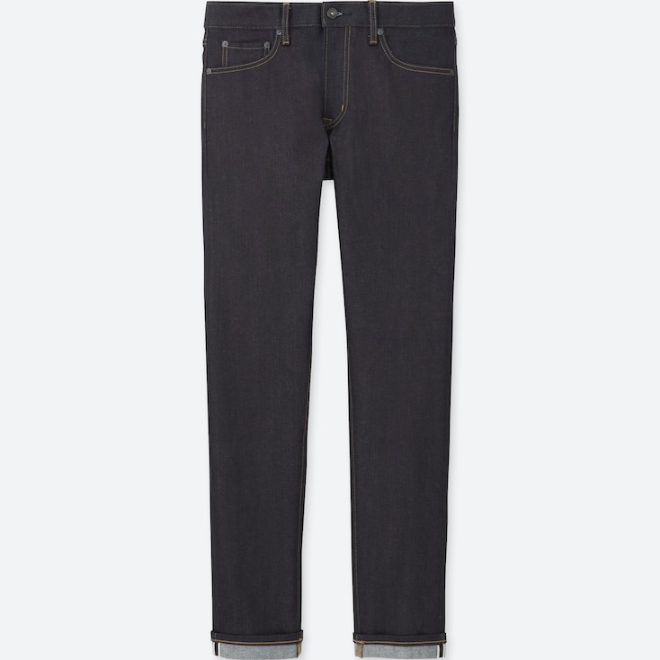 Men Selvedge Skinny Fit Tapered Jeans, Navy, Large