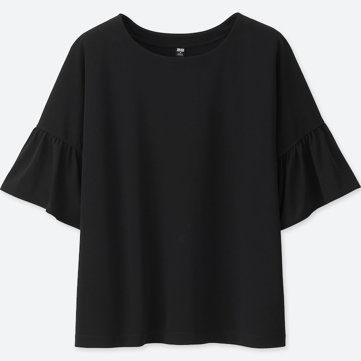 Women Peplum Sleeve Short Sleeve T-Shirt, Black, Large