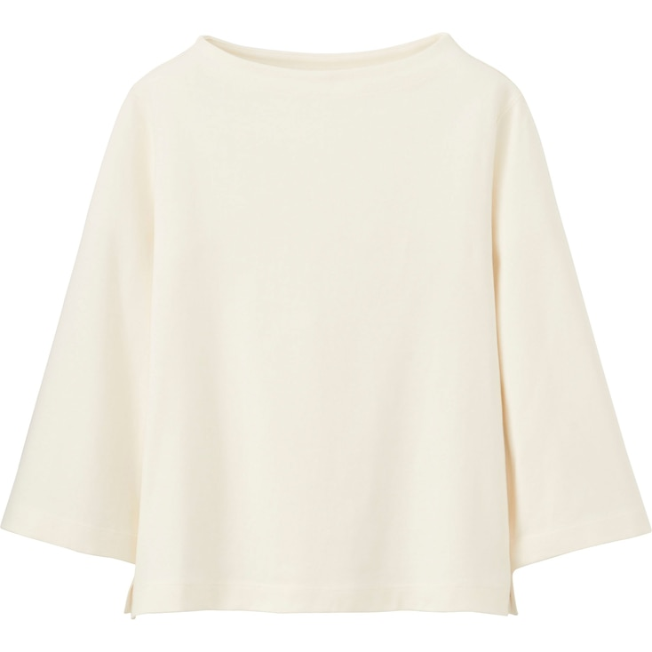 Women Mock Neck Wide 3/4 Sleeve T-Shirt, Off White, Large