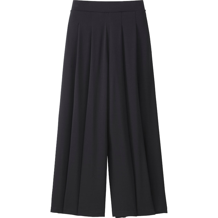 WOMEN FLARE WIDE PANTS, BLACK, large