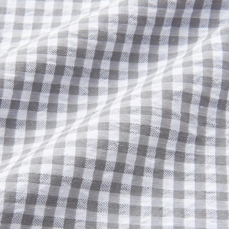 Men Linen Cotton Checked Short Sleeve Shirt, Gray, Large