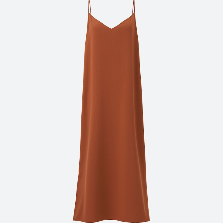 WOMEN CREPE CAMISOLE LONG DRESS, BROWN, large