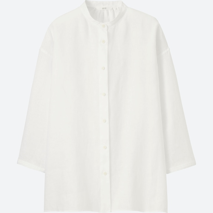 Women Premium Linen Stand Collar 3/4 Sleeve Shirt, White, Large
