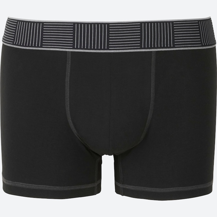 MEN Supima® COTTON BOXER BRIEFS (LOW RISE), BLACK, large