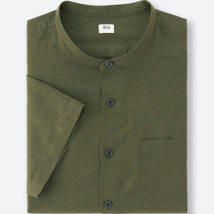 Men Linen Cotton Short-Sleeve Shirt, Olive, Large