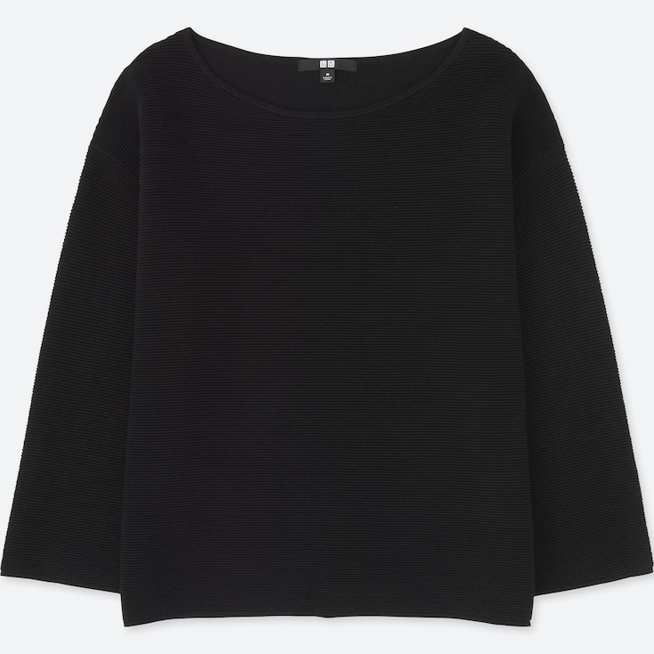Women Ripple Crewneck Sweater, Black, Large