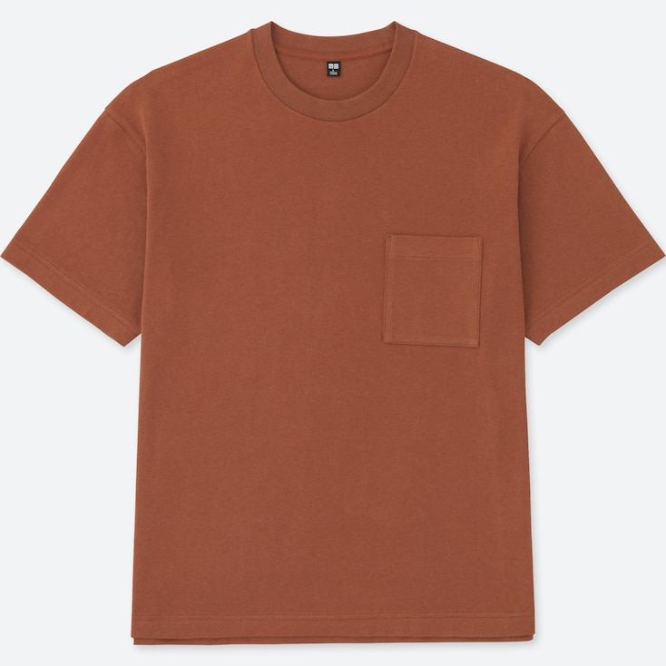 MEN OVERSIZED SHORT SLEEVE CREWNECK T-SHIRT, DARK ORANGE, large
