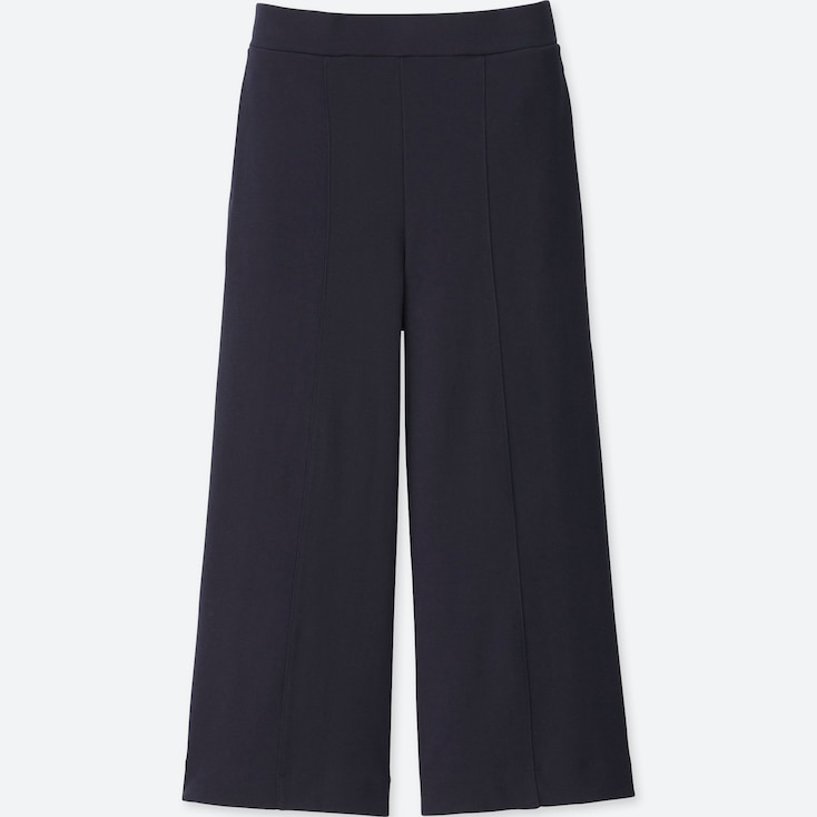 WOMEN MILANO RIBBED CUT SEWN ANKLE WIDE PANTS, NAVY, large