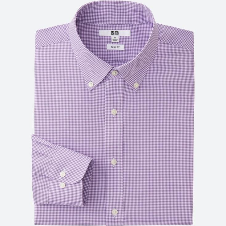 Men Easy Care Slim-Fit Checked Long Sleeve Shirt, Purple, Large