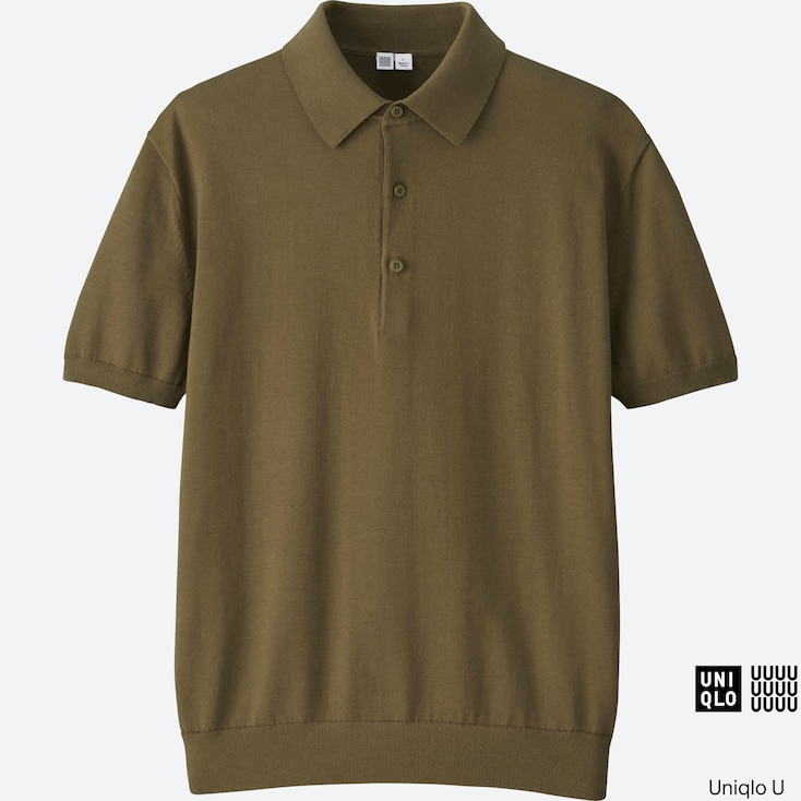 Men U Supima® Cotton Knitted Polo Shirt, Khaki, Large
