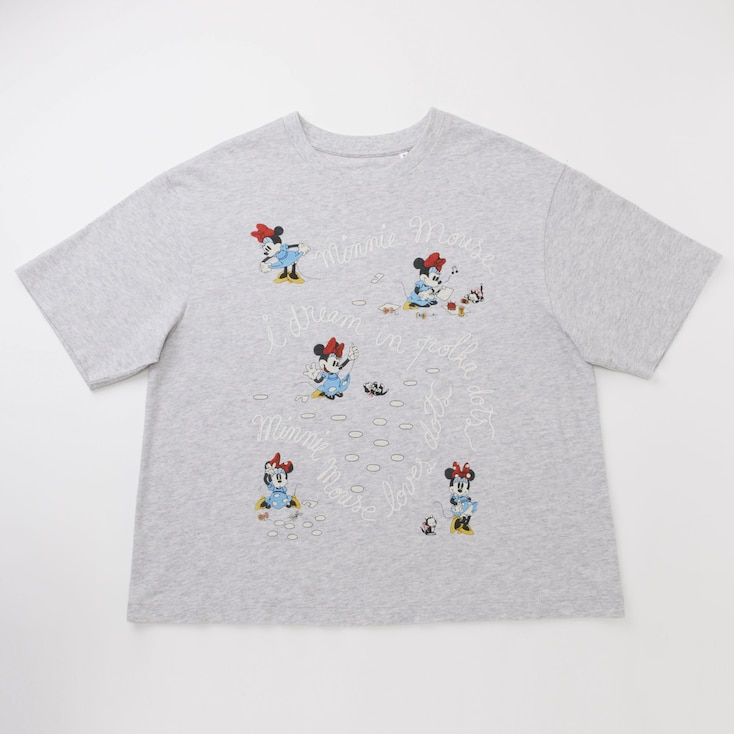 Women Disney (Minnie Mouse Loves Dots) Short-Sleeve Graphic T-Shirt, Light Gray, Large