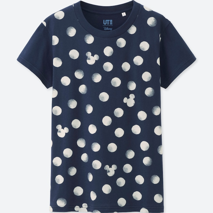 WOMEN MICKEY BLUE SHORT SLEEVE GRAPHIC T-SHIRT, NAVY, large