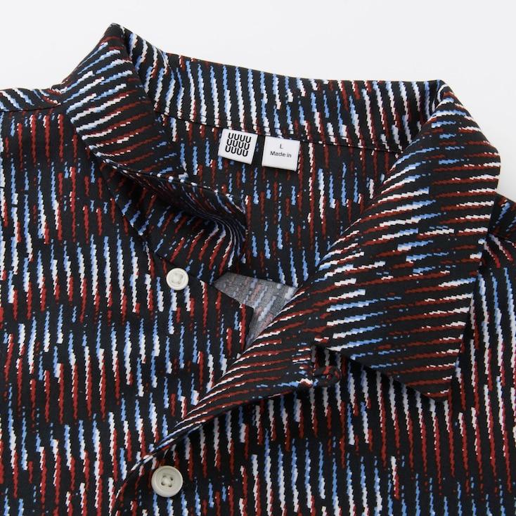 Men U Open Collar Short-Sleeve Shirt, Red, Large