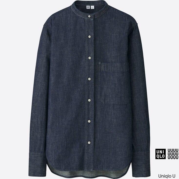 Women U Denim Stand Collar Long-Sleeve Shirt, Blue, Large