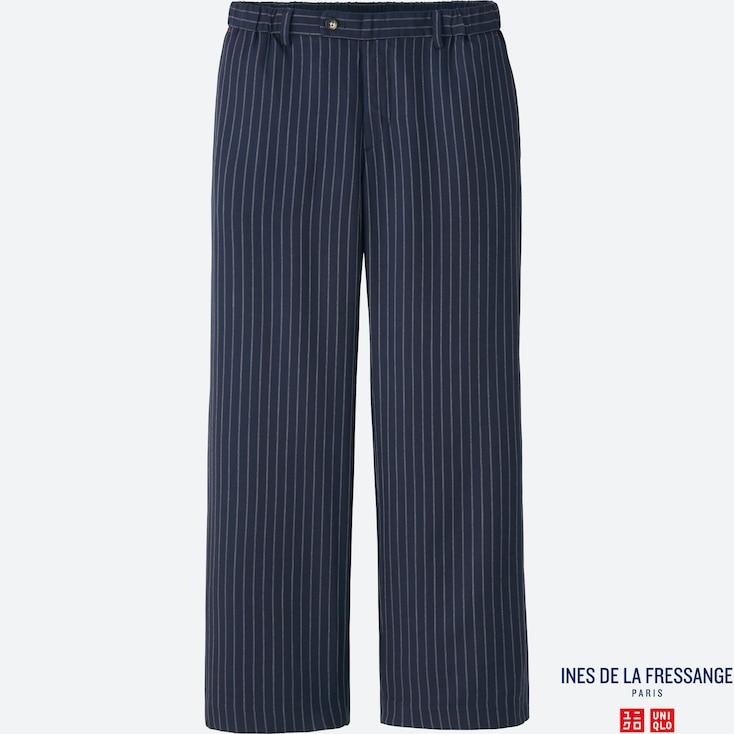 Women Idlf Twill Rayon Wide Pants, Navy, Large