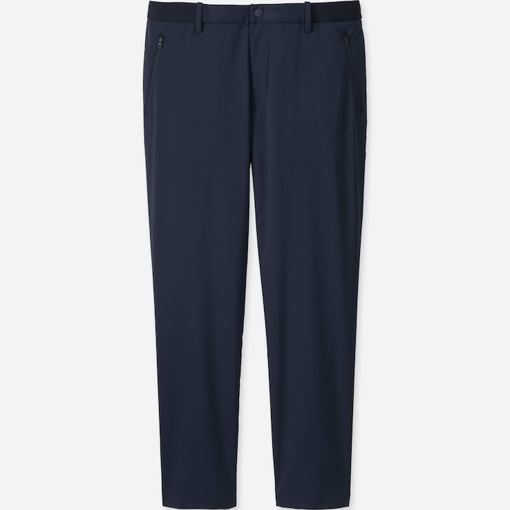 MEN RELAXED ANKLE LENGTH PANTS (DRY), NAVY, large