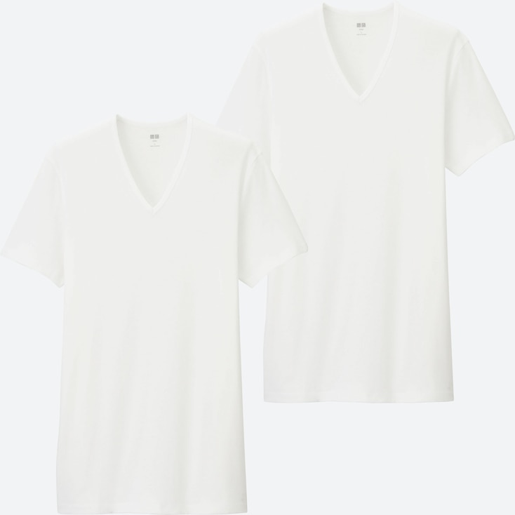 MEN SUPIMA® COTTON RIBBED V-NECK SHORT-SLEEVE T-SHIRT (SET OF 2), WHITE, large
