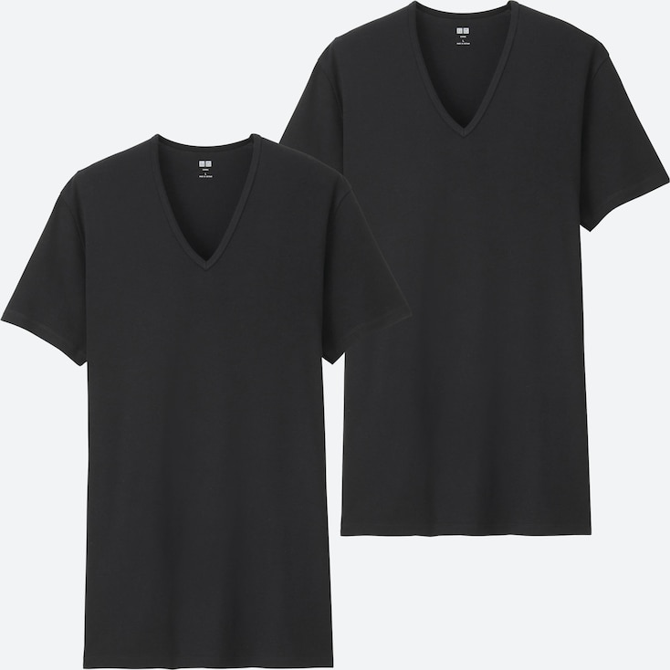 MEN SUPIMA® COTTON RIBBED V-NECK SHORT-SLEEVE T-SHIRT (SET OF 2), BLACK, large