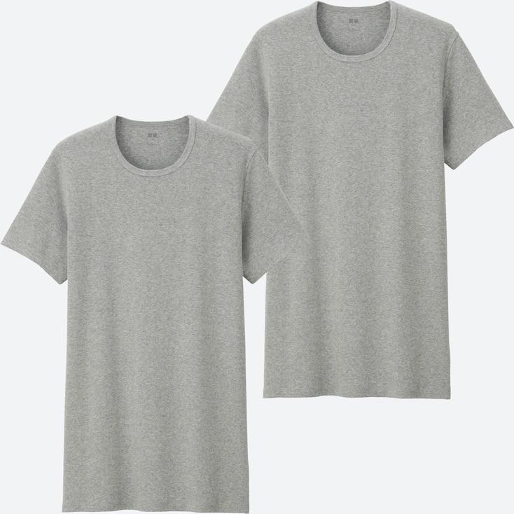 MEN SUPIMA® COTTON RIBBED CREW NECK SHORT-SLEEVE T-SHIRT (SET OF 2), GRAY, large