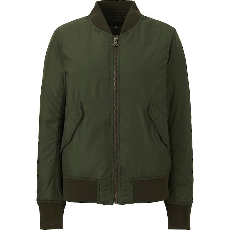 Women Ma-1 Bomber Jacket, Olive, Large