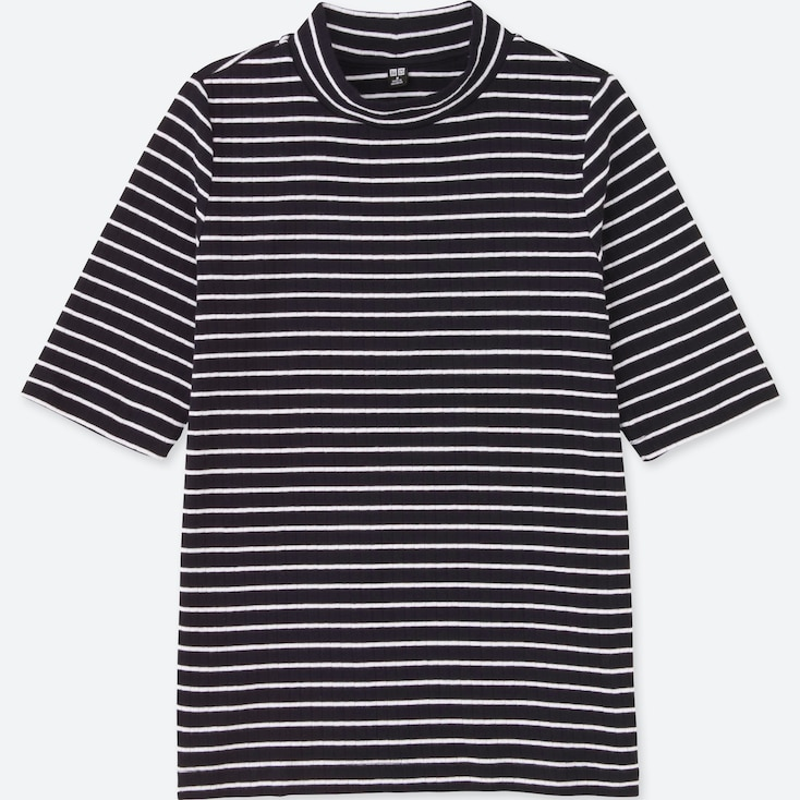 WOMEN STRIPED RIBBED HIGH NECK HALF-SLEEVE T-SHIRT, NAVY, large