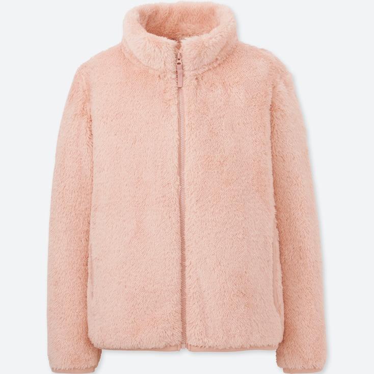 Girls Fluffy Yarn Fleece Long-Sleeve Jacket, Pink, Large
