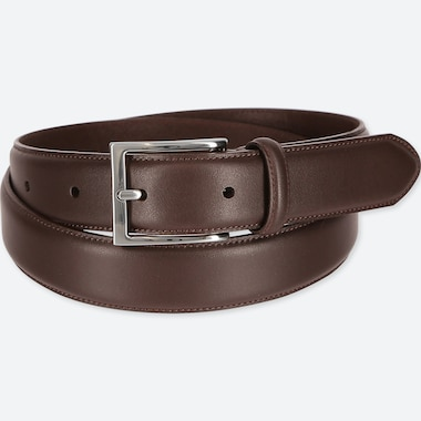 Men Italian Leather Stitched Belt, Dark Brown, Medium