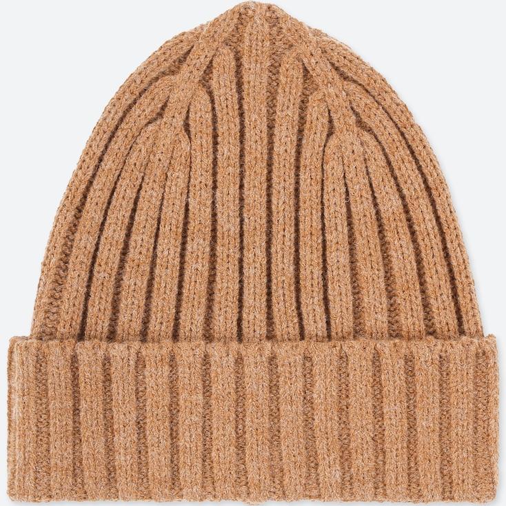 Heattech Knitted Cap, Beige, Large
