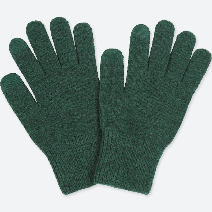 Men Heattech Knitted Gloves, Dark Green, Large