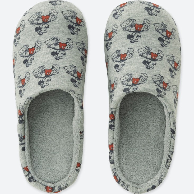 MICKEY TRAVELS SLIPPERS, GRAY, large