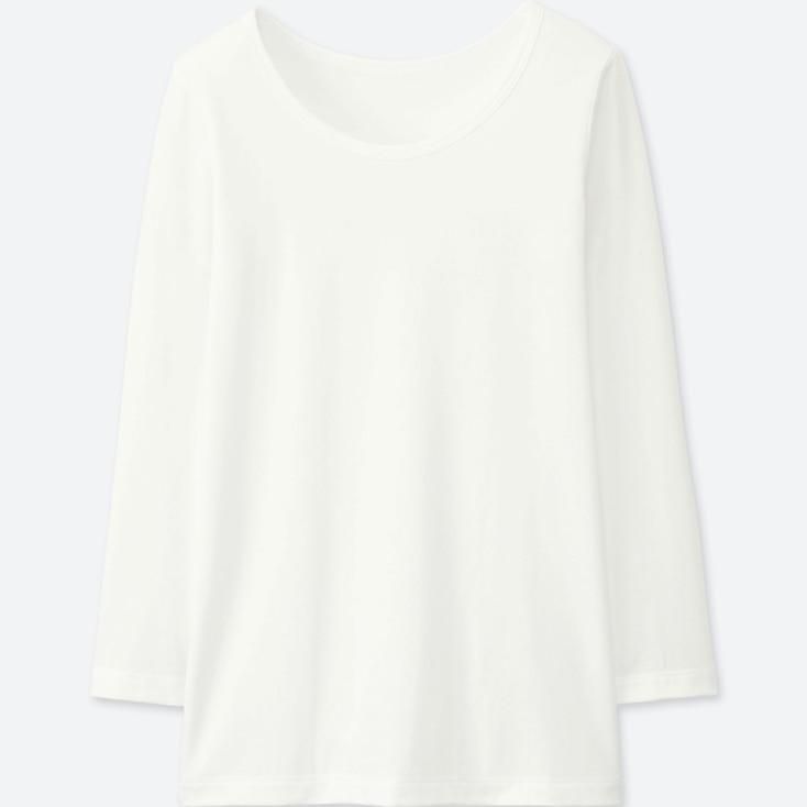KIDS HEATTECH U-NECK LONG-SLEEVE T-SHIRT, WHITE, large