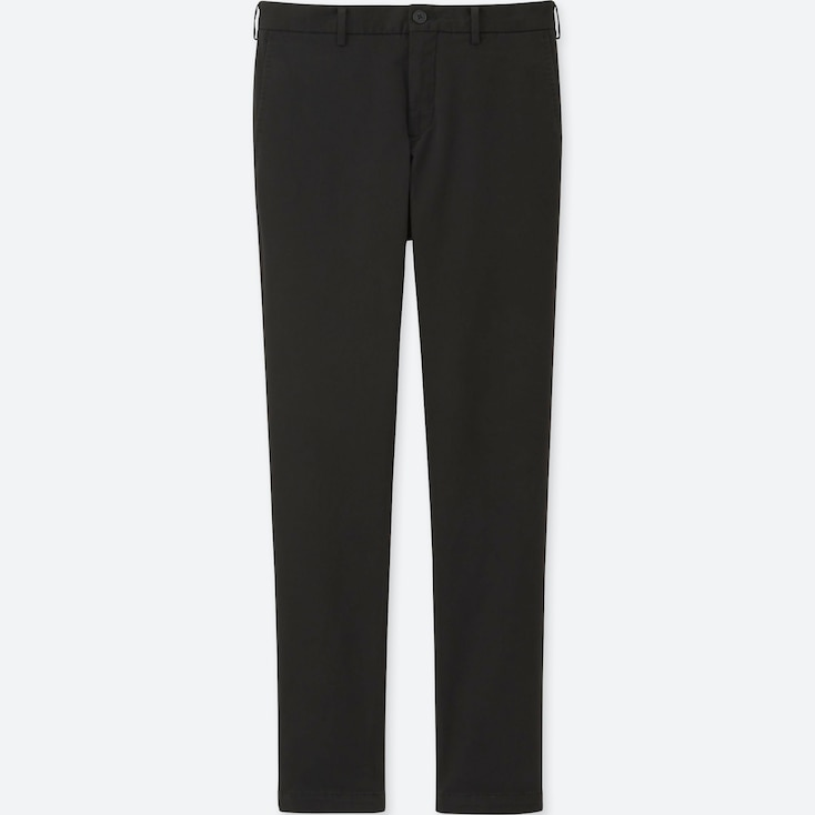 Men Slim-Fit Chino Flat Front Pants, Black, Large