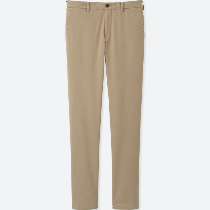 MEN SLIM-FIT CHINO FLAT FRONT PANTS, BEIGE, large