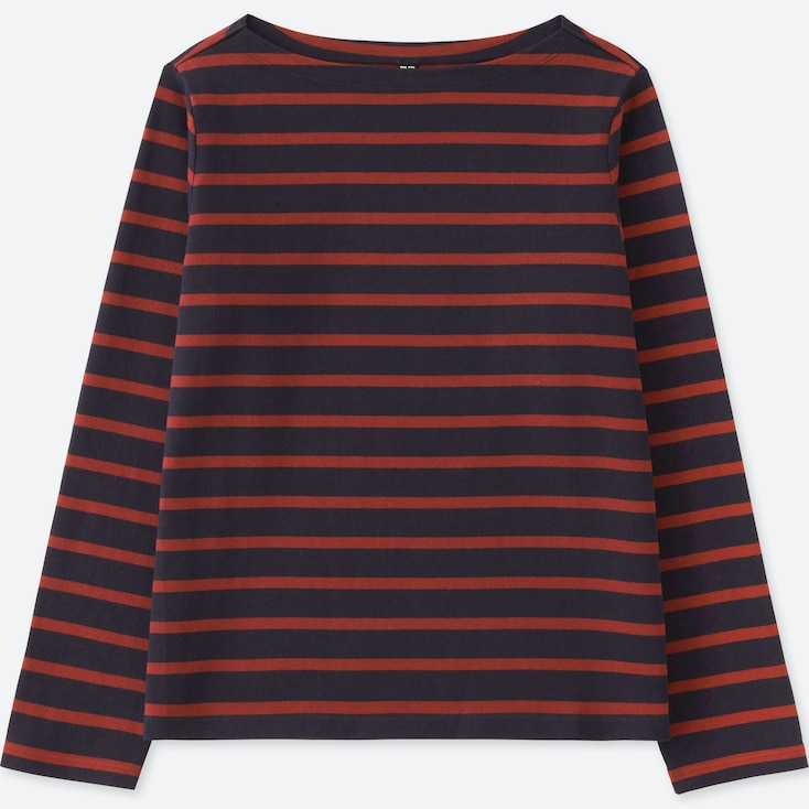 WOMEN STRIPED BOAT NECK LONG-SLEEVE T-SHIRT, NAVY, large