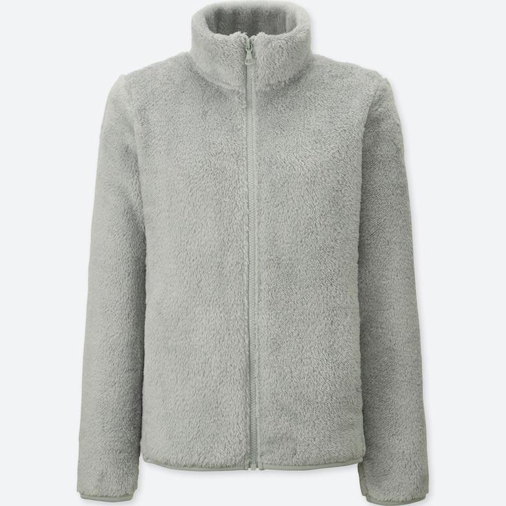 Women Fluffy Yarn Fleece Full-Zip Jacket, Gray, Large