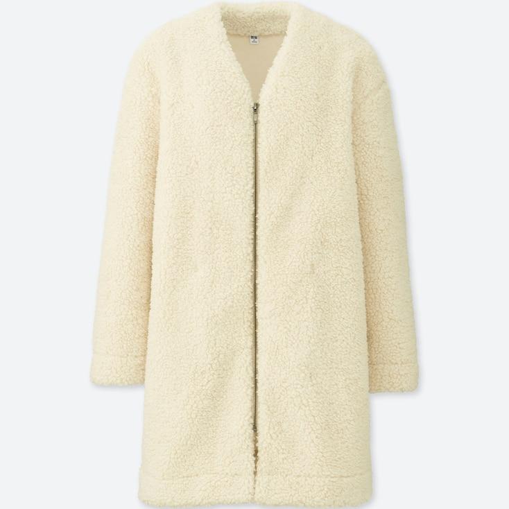 Women Fluffy Fleece Long-Sleeve Coat, Natural, Large