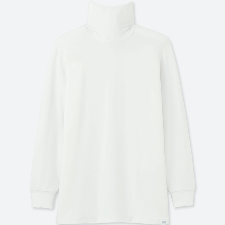 Men Heattech Extra Warm Turtleneck T-Shirt, White, Large