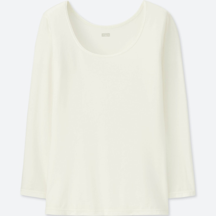 WOMEN HEATTECH SCOOP NECK LONG-SLEEVE T-SHIRT, OFF WHITE, large