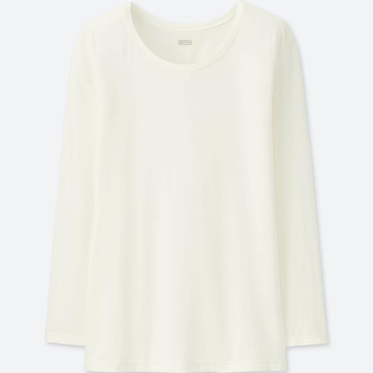 WOMEN HEATTECH CREW NECK LONG-SLEEVE T-SHIRT, OFF WHITE, large
